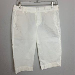 Vince Sz 4 White Long Bermuda Shorts Flat Front